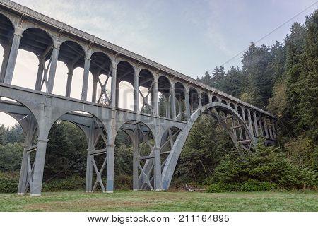 Bridge in the fog near Heceta Head Lighthouse, Oregon coast