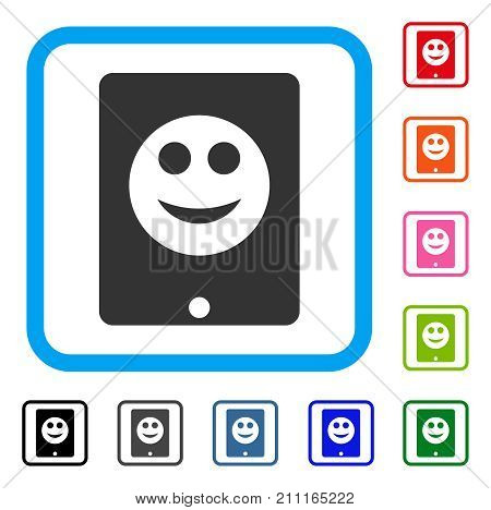 Pad Smile icon. Flat gray iconic symbol inside a blue rounded rectangular frame. Black, gray, green, blue, red, orange color additional versions of Pad Smile vector. Designed for web and app UI.