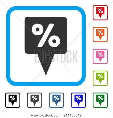 Percent Map Pointer icon. Flat gray iconic symbol inside a blue rounded square. Black, gray, green, blue, red, orange color versions of Percent Map Pointer vector. Designed for web and application UI.