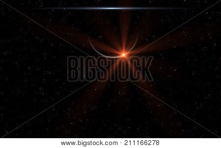 Lighting Abstract with digital lens flare.Lens flare with dust on space background.Outer with flare power