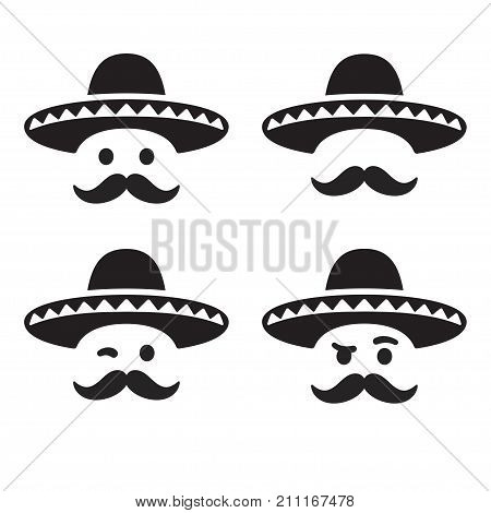 Mexican sombrero hat with funny moustache smiley face different expressions set. Simple and minimal vector illustration icon or logo.