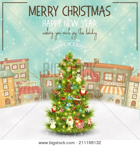 Merry Christmas Greeting Card - Beautifully Decorated Christmas Tree in the Winter Small Town. Vector Illustration. Square Format.