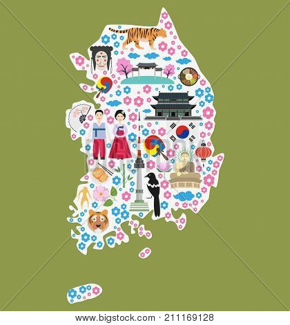 Welcome to South Korea. Colorful poster with symbols of South Korea. Silhouette of map of South Korea with flat icons. Vector illustration.