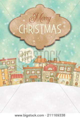 Urban Winter Landscape. Snowy Street. Merry Christmas Greeting Card. Vector Illustration. Vertical Format.