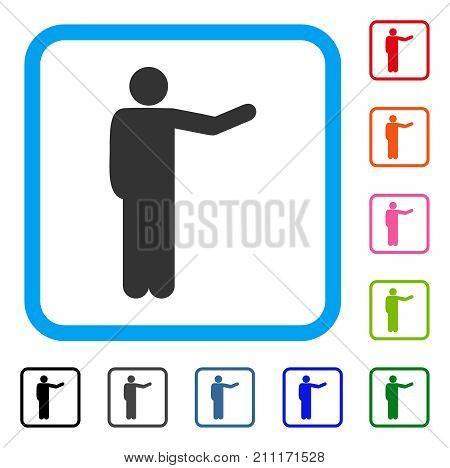 Showing Man icon. Flat grey pictogram symbol inside a blue rounded frame. Black, gray, green, blue, red, orange color additional versions of Showing Man vector.