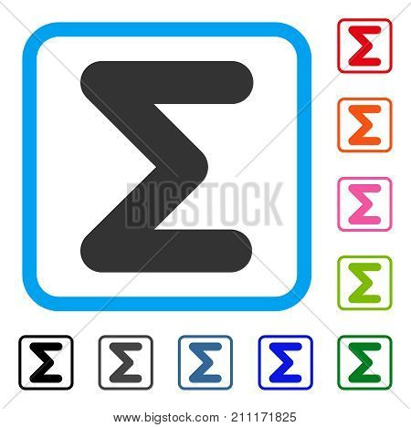 Sum icon. Flat grey iconic symbol in a blue rounded squared frame. Black, gray, green, blue, red, orange color versions of Sum vector. Designed for web and application UI.