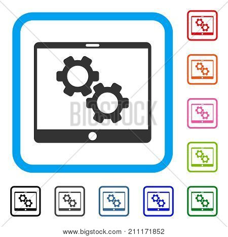 Tablet Settings Gears icon. Flat grey iconic symbol inside a blue rounded squared frame. Black, gray, green, blue, red, orange color versions of Tablet Settings Gears vector.