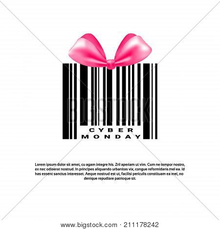 Cyber Monday Background With Bar Code And Pink Bow Sale Banner Design With Copy Space Vector Illustration