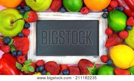 Message Board Blackboard Surrounded By Healthy Food,