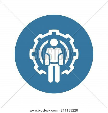 Technician Icon. Man and Cog Wheel. Engineering Symbol. Flat Line Pictogram. Isolated on white background.
