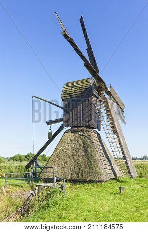 Historic scoop mill at Honigfleth, Dithmarschen district, Schleswig-Holstein