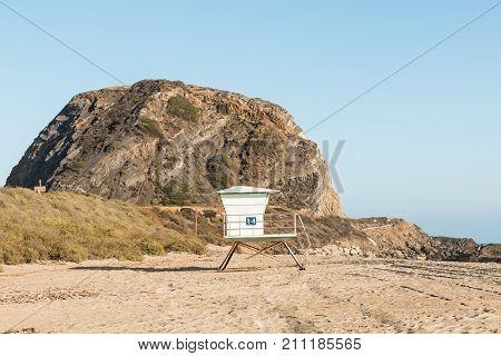 A lifeguard station near Mugu Rock on the Pacific Coast Highway at Mugu State Park in Malibu, California.