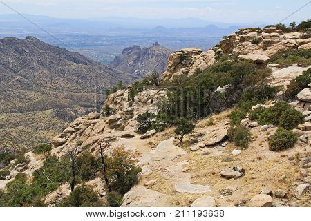 View towards Tucson from Windy Point on Mount Lemmon in Tucson, Arizona, USA in the Santa Catalina Mountains located in the Coronado National Forest with copy space.