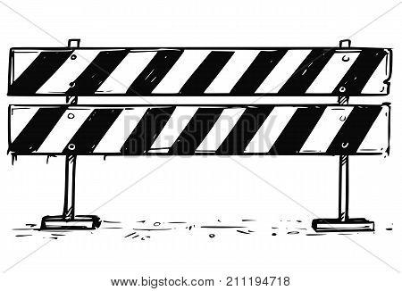 Road Detour Closed Block Sign Drawing