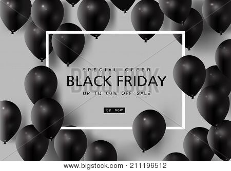 Black Friday Sale with Best Offers Discount, Flat 55 Off, Creative typographical background, Stylish Poster, Banner or Flyer design.