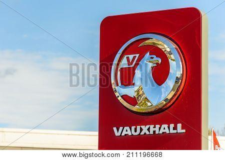 Northampton, UK - Oct 25, 2017: Day view of Vauxhall logo at Riverside Retail Park.