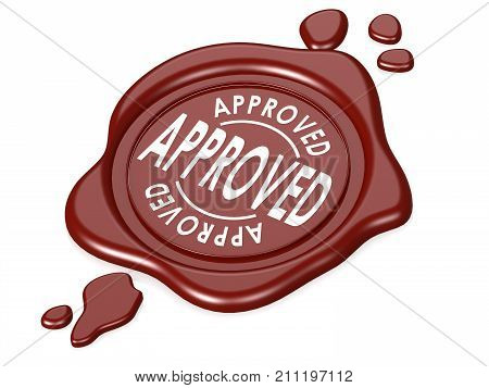 Approved Red Wax Seal Isolated