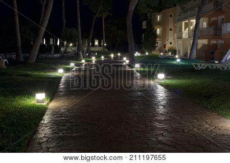 Stone Path At Night