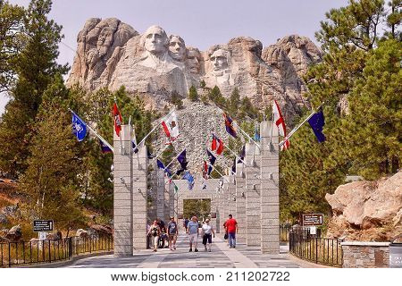Mount Rushmore, USA, 2017.08.10: The Mount Rushmore National Memorial in the USA.