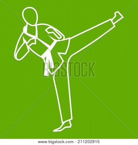 Wushu master icon white isolated on green background. Vector illustration