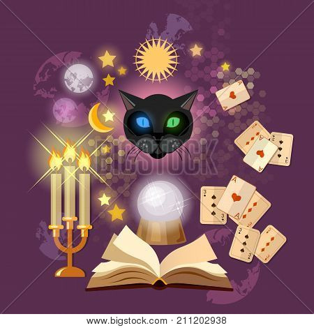 Astrology and alchemy. Fortune telling vector. Open magic book. Prediction of the future cards of Tarot mystical cat