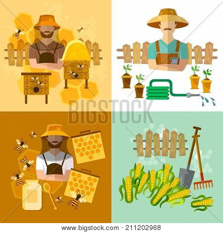 Garden set beekeeping honey and bees cultivation vegetables work in the greenhouse. Honey and beekeeping industry