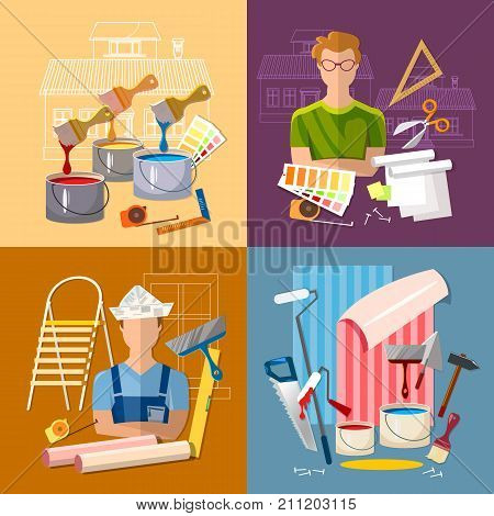 House repair. Painter man work with roller set. Professional instrument of painter. Painter paints walls pastes wall wall-paper. Planning and design of repair