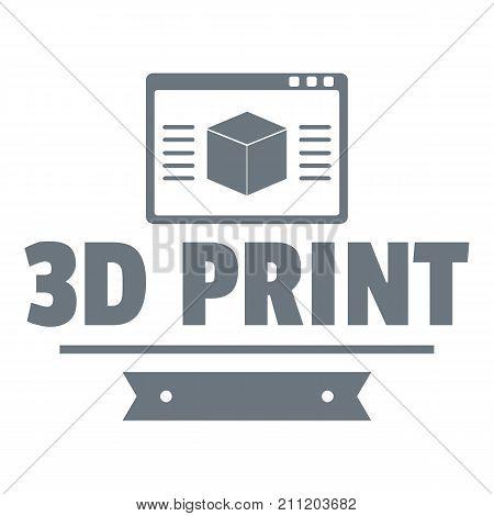 Material 3d printing logo. Simple illustration of material 3d printing vector logo for web