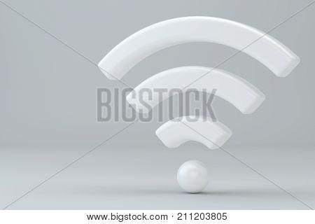 Wi Fi Wireless Network Symbol, 3d rendering on studio background