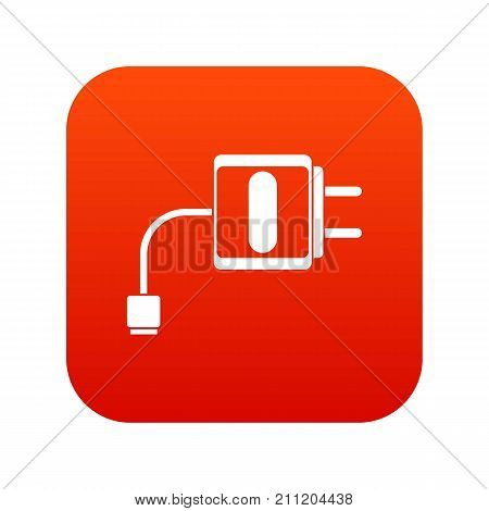 Mini charger icon digital red for any design isolated on white vector illustration