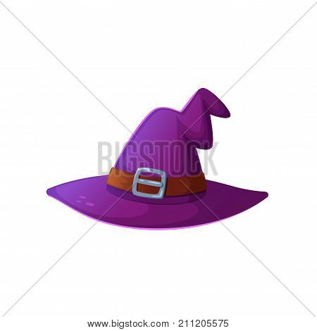 Cartoon Halloween witch hat. Witch hat with buckle isolated on white background. Design element for Halloween