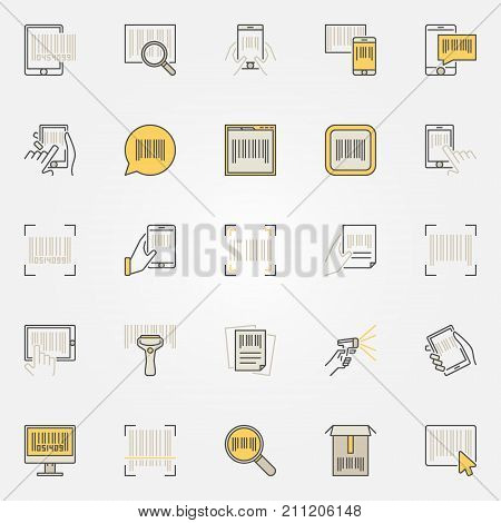 Barcode colorful icons set. Vector scanner, search, mobile barcodes creative business symbols or logo elements
