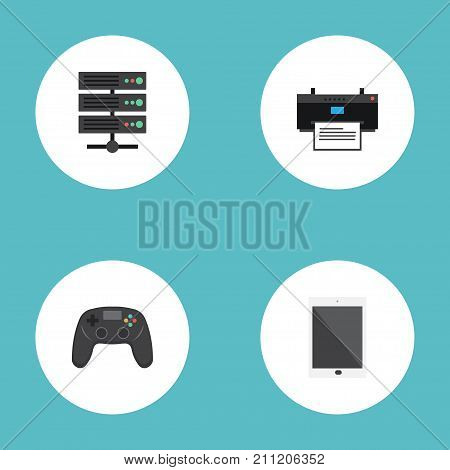 Flat Icons Printer, Datacenter, Controller And Other Vector Elements