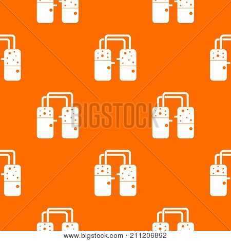 Containers connected with tubes pattern repeat seamless in orange color for any design. Vector geometric illustration