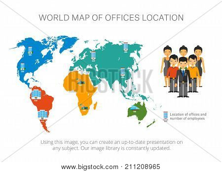 Map infographics with pointers. World map, location chart, template. Creative concept for infographics, presentation, project. Can be used for topics like location, global service, geography.