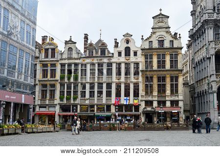Brussels, Belgium - April 2015: Grand Place, Most Memorable Landmark Of Belgium Located At Central S