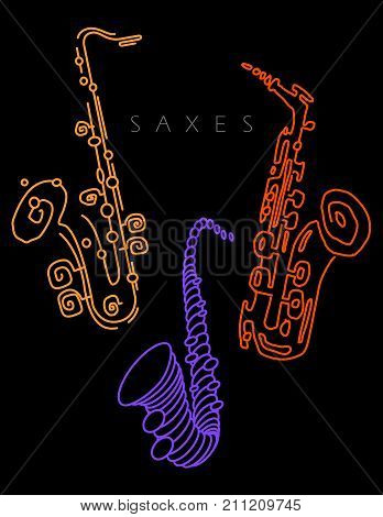 Sax illustration in neon colors on a black background. For print or web