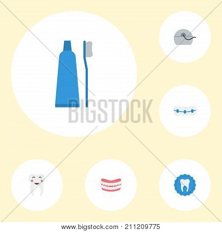 Flat Icons Artificial Teeth, Halitosis, Toothbrush And Other Vector Elements