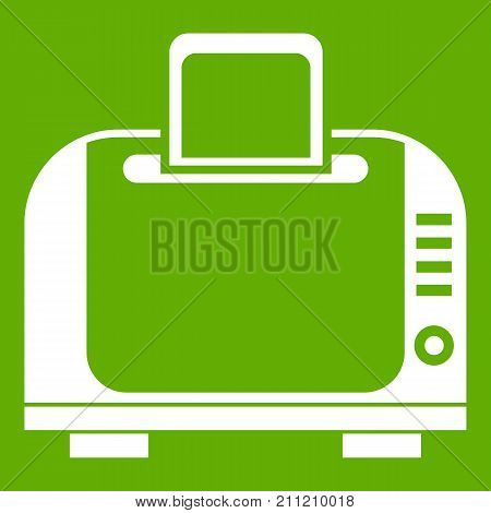 Toaster icon white isolated on green background. Vector illustration