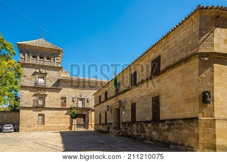 UBEDA,SPAIN - OCTOBER 2,2017 - Building of Justice palace and Mancera palace in Ubeda. Ubeda possesses 48 monuments and more of another hundred of buildings of interest almost all of them of Renaissance style.