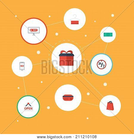 Flat Icons Support, Present, Purchase And Other Vector Elements