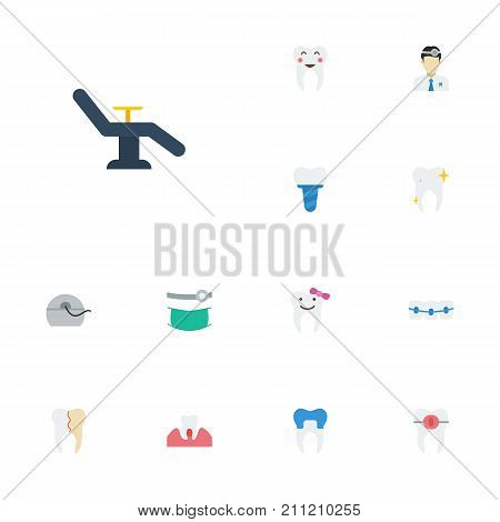Flat Icons Furniture, Orthodontist, Halitosis And Other Vector Elements