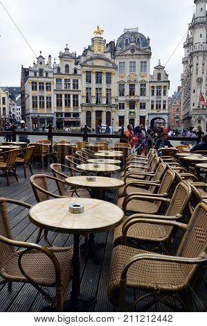 Brussels, Belgium - April 2015: Restaurant At Grand Place, Most Memorable Landmark Of Belgium Locate