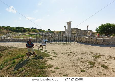 The Artist Draws From Nature Ancient Greek Ruins Of The Basilica Of The Vi-x Centuries On The Shores