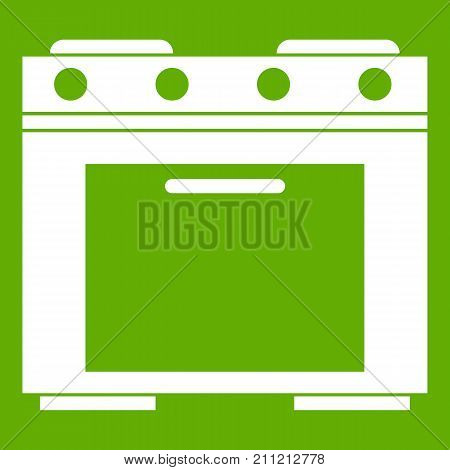 Gas stove icon white isolated on green background. Vector illustration