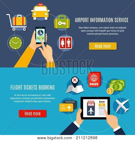 Airport information online service with flight tickets booking 2 flat horizontal banners webpage design isolated vector illustration