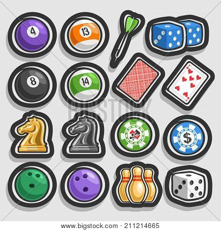 Vector set of Gaming and Gambling Equipment, collection of billiards balls, darts arrow, cube for craps, playing card, chess knight, chips for casino, bowling balls & pins isolated on grey background.