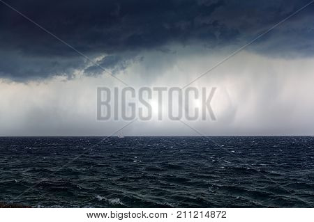 Large storm over the sea in croatia