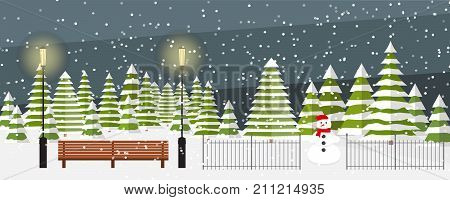 Cute vector evening winter background. Winter background vector. Snowfall, bench, fir trees in different shapes and forms, lanterns, snowman. Outside park landscape. Winter wonderland.