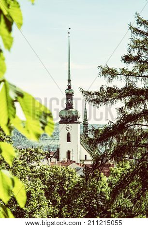 Church of St. James in Brno Moravia Czech republic. Religious architecture. Travel destination. Old photo filter.
